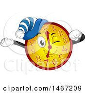 Clipart Of A Clock Mascot Stretching Royalty Free Vector Illustration by BNP Design Studio