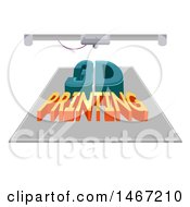 Clipart Of A 3d Printing Machine With Text Royalty Free Vector Illustration