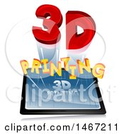 Clipart Of A Tablet Computer With 3d Printing Text Emerging From The Screen Royalty Free Vector Illustration