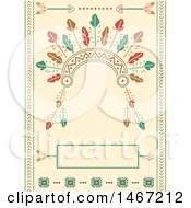 Clipart Of A Native American Tribal Headdress Background Royalty Free Vector Illustration