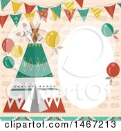 Clipart Of A Native American Indian Tipi Party Invitation Royalty Free Vector Illustration