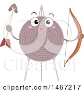 Happy Archery Target Mascot Holding A Bow And Arrow