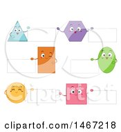 Clipart Of Shape Characters Holding Signs Royalty Free Vector Illustration by BNP Design Studio