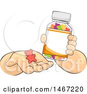 Clipart Of A Pair Of Childs Hands Holding A Bottle And Chewable Vitamin Royalty Free Vector Illustration by BNP Design Studio