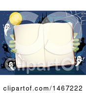 Clipart Of A Pair Of Zombie Hands Holding An Open Book Royalty Free Vector Illustration