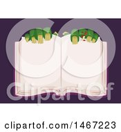 Clipart Of A Pair Of Zombie Hands Over An Open Book Royalty Free Vector Illustration