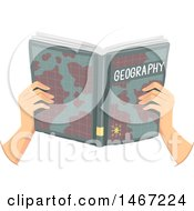 Pair Of Hands Holding A Geography Book