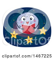 Clipart Of A Full Moon Reading A Story To Stars Royalty Free Vector Illustration