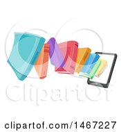 Clipart Of A Tablet Computer With Books Emerging From The Screen Royalty Free Vector Illustration
