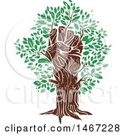 Clipart Of A Fisted Hand Tree Trunk With Green Leaves Royalty Free Vector Illustration by BNP Design Studio