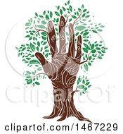 Clipart Of A Hand Tree Trunk With Green Leaves Royalty Free Vector Illustration by BNP Design Studio