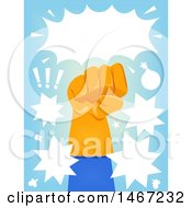 Clipart Of A Fisted Gloved Super Hero Hand With Comic Bursts Royalty Free Vector Illustration
