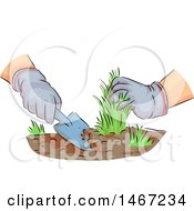 Clipart Of A Sketched Pair Of Drugged Hands Pulling Weeds Royalty Free Vector Illustration