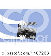 Clipart Of A Pair Of Hands Holding A Clapper Board Royalty Free Vector Illustration