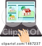 Clipart Of A Hand Working On A Laptop Computer House Hunting Royalty Free Vector Illustration