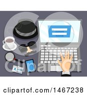 Clipart Of A Hand Working On A Laptop Computer With Spy Gear Items On The Side Royalty Free Vector Illustration by BNP Design Studio