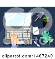 Clipart Of A Hand Working On A Laptop Computer With Gardening Items On The Side Royalty Free Vector Illustration