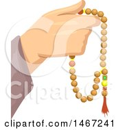 Clipart Of A Muslim Devotee Hand Holding Islamic Prayer Beads Royalty Free Vector Illustration