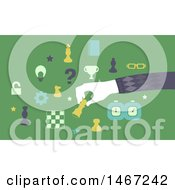 Clipart Of A Chess Player Moving Pieces Royalty Free Vector Illustration by BNP Design Studio