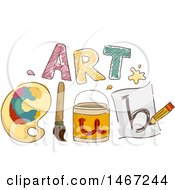 Sketched Design Of Items Spelling Out Art Club