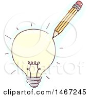Clipart Of A Sketched Pencil Drawing A Light Bulb Royalty Free Vector Illustration