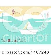 Geometric Sailboat On The Ocean