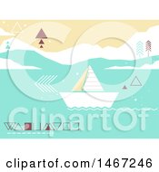 Poster, Art Print Of Geometric Sailboat On The Ocean