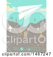 Clipart Of A Paper Plane Over A Geometric Landscape Royalty Free Vector Illustration by BNP Design Studio