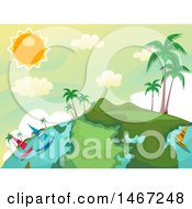 Clipart Of A Tropical Globe With Sailboats And Palm Trees Royalty Free Vector Illustration