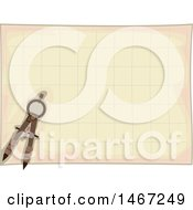 Clipart Of A Drafting Compass Over A Grid Royalty Free Vector Illustration