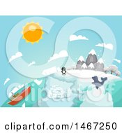 Clipart Of A Globe Of Arctic Country With A Penguin Seal And Ship Royalty Free Vector Illustration