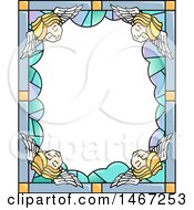 Clipart Of A Border Of Stained Glass With Sleeping Angels Royalty Free Vector Illustration