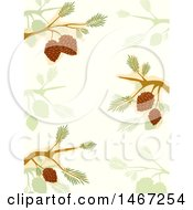 Clipart Of A Background Of Branches And Cones Royalty Free Vector Illustration by BNP Design Studio