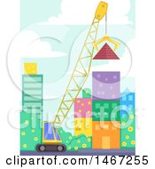 Clipart Of A Crane Lifting A Giant Pyramid Off The Ground In A City Royalty Free Vector Illustration