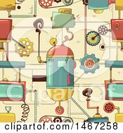 Seamless Steampunk Pattern Background