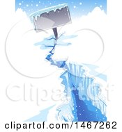Clipart Of A Frozen Zign In A Crack Of An Iceberg Royalty Free Vector Illustration