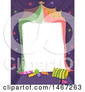 Clipart Of A Blank Piece Of Paper With Blankets Pillows And Candy For A Slumber Party Or Glamping Invite Royalty Free Vector Illustration