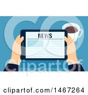 Clipart Of A Pair Of Hands Holding A Tablet Computer With News On The Screen Royalty Free Vector Illustration