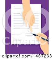 Clipart Of A Hand Signing And Finger Pointing To A Line On A Document Royalty Free Vector Illustration