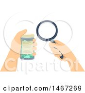 Pair Of Hands Holding A Magnifying Glass And Pill Bottle