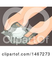 Clipart Of A Drug Addict Spreading A Tin Foil Filled With A White Powder Royalty Free Vector Illustration