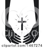 Clipart Of A Pair Of Arms And Hands Supporting A Shining Cross Royalty Free Vector Illustration