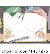 Clipart Of Hands Of A Cartographer With Drawing Tools Royalty Free Vector Illustration