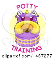 Clipart Of A Friendly Monster Toilet Training Potty With Text Royalty Free Vector Illustration by BNP Design Studio