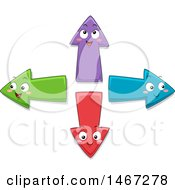 Clipart Of Colorful Directional Arrow Characters Royalty Free Vector Illustration