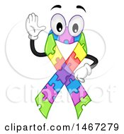 Clipart Of A Colorful Puzzle Piece Autism Awareness Ribbon Waving Royalty Free Vector Illustration by BNP Design Studio