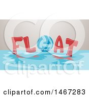 Clipart Of A Volleyball In The Word Float On The Surface Of Water Royalty Free Vector Illustration by BNP Design Studio