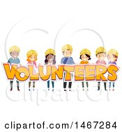 Clipart Of A Group Of People Holding The Word Volunteers Royalty Free Vector Illustration by BNP Design Studio