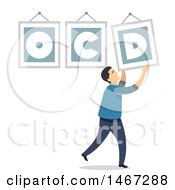 Clipart Of A Man Adjusting A Crooked OCD Frame Royalty Free Vector Illustration