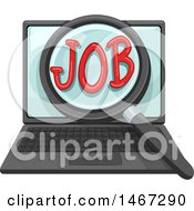 Clipart Of A Magnifying Glass Over The Word Job On A Laptop Computer Screen Royalty Free Vector Illustration